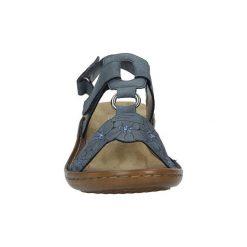 Sandały Rieker  Niebieskie sandały z cyrkoniami  60843-14. Czarne sandały damskie marki Rieker, z materiału. Za 218,99 zł.
