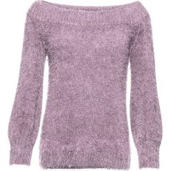 """Sweter z przędzy z długim włosem z dekoltem """"carmen"""" bonprix matowy bez. Fioletowe swetry klasyczne damskie bonprix, z kołnierzem typu carmen. Za 89,99 zł."""