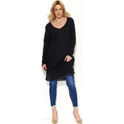 Tuniki damskie z długim rękawem: Czarny Sweter Tunika z Koronkową Wypustką