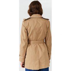 Simple - Płaszcz. Brązowe trencze damskie marki Simple, w paski, z bawełny. W wyprzedaży za 479,90 zł.