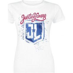 Bluzki asymetryczne: Justice League Painted Logo Koszulka damska biały