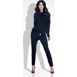 Bluzki damskie: Czarny Kobiecy Zestaw Bluzka i Spodnie