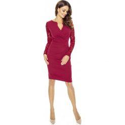 Bordowa Koronkowa Sukienka z Założeniem Kopertowym. Czerwone sukienki koronkowe Molly.pl, do pracy, l, biznesowe, z kopertowym dekoltem, z długim rękawem, kopertowe. Za 208,90 zł.
