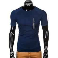 T-SHIRT MĘSKI Z NADRUKIEM S1011 - GRANATOWY. Niebieskie t-shirty męskie z nadrukiem marki Ombre Clothing, m, z bawełny. Za 35,00 zł.