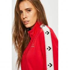 Converse - Bluza. Czerwone bluzy z kieszeniami damskie Converse, l, z dzianiny, bez kaptura. Za 279,90 zł.