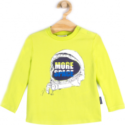 Koszulka. Zielone t-shirty chłopięce z długim rękawem SPACE, z aplikacjami, z bawełny. Za 24,90 zł.