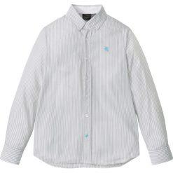 Koszula z długim rękawem w paski bonprix matowy srebrny - biały w paski. Szare bluzki dziewczęce w paski marki bonprix, z klasycznym kołnierzykiem, z długim rękawem. Za 32,99 zł.