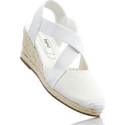 Espadryle na koturnie bonprix biały. Białe buty ślubne damskie bonprix, w paski, na koturnie. Za 74,99 zł.