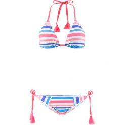 Bikini z trójkątnymi miseczkami (2 części) bonprix niebiesko-koralowo-srebrny. Niebieskie bikini bonprix, w paski. Za 49,99 zł.