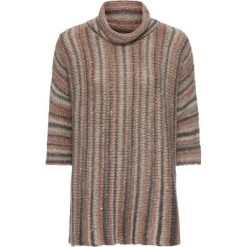 Sweter oversize bonprix w kolorowe paski. Szare golfy damskie bonprix. Za 69,99 zł.