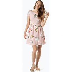 ONLY - Sukienka damska – Dalia, różowy. Szare sukienki z falbanami marki ONLY, s, z bawełny, z okrągłym kołnierzem. Za 89,95 zł.