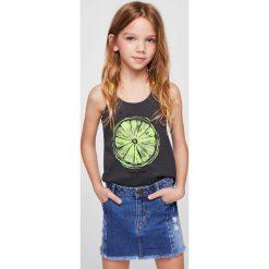 Mango Kids - Top dziecięcy Frutas 104-164 cm. Szare bluzki dziewczęce Mango Kids, z nadrukiem, z bawełny, z okrągłym kołnierzem. Za 35,90 zł.