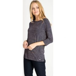 Bluzki damskie: Granatowa bluzka w różowe kropeczki QUIOSQUE