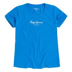 T-shirt w kolorze niebieskim. Niebieskie t-shirty damskie Pepe Jeans, xxs, z aplikacjami, z okrągłym kołnierzem. W wyprzedaży za 67,95 zł.