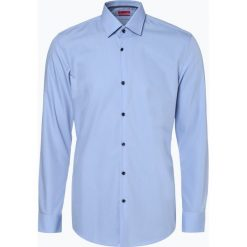 HUGO - Koszula męska łatwa w prasowaniu – Koey, niebieski. Niebieskie koszule męskie na spinki marki HUGO, m, z napisami. Za 349,95 zł.