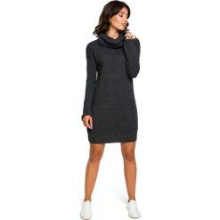 Grafitowy Długi Sweter- Sukienka z Szerokim Golfem. Szare długie sukienki marki Molly.pl, uniwersalny, ze splotem, eleganckie, z golfem, z długim rękawem, proste. Za 115,90 zł.