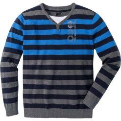 Sweter Regular Fit bonprix szary melanż - lodowy niebieski w paski. Szare swetry klasyczne męskie bonprix, l, melanż, z podwójnym kołnierzykiem. Za 109,99 zł.