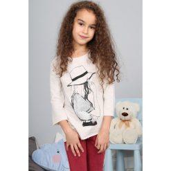 Bluzki dziewczęce: Beżowa Bluzka z Nadrukiem NDZ7569