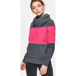 Bluzy damskie: Bluza z szerokim kołnierzem – Szary