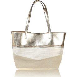 Shopper bag damskie: Shopper bag w kolorze beżowo-srebrnym – 51 x 30 x 35 cm