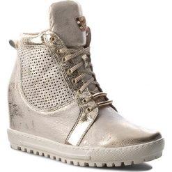 Sneakersy EKSBUT - 76-4129-672/F98/F16 Złoto Licowa. Żółte botki damskie skórzane Eksbut. W wyprzedaży za 269,00 zł.