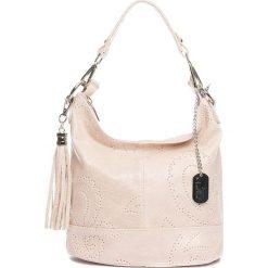 Torebki klasyczne damskie: Skórzana torebka w kolorze beżowym – 27 x 24 x 13 cm