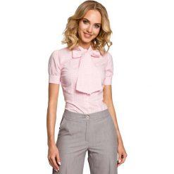 Koszulowa Bluzka w Kratkę z Kokardą pod Szyją - Różowy. Czerwone bluzki koszulowe marki Molly.pl, l, w kratkę, klasyczne, z krótkim rękawem. Za 98,90 zł.