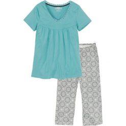 Piżama ze spodniami 3/4 bonprix szary z nadrukiem. Szare piżamy damskie marki KALENJI, z elastanu. Za 59,99 zł.