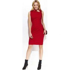 Czerwona Elegancka Sukienka z Efektownym Kołnierzykiem. Czarne sukienki balowe marki bonprix, do pracy, w paski, moda ciążowa. Za 127,90 zł.