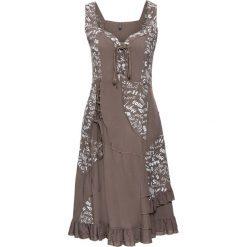 Sukienki: Sukienka ze sznurowaniem bonprix brunatny z nadrukiem