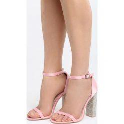 Różowe Sandały Great Fall. Czerwone sandały damskie na słupku marki Born2be, z materiału, na wysokim obcasie. Za 89,99 zł.