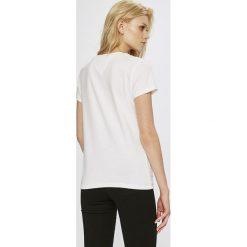 Tommy Jeans - Top. Szare topy damskie marki Tommy Jeans, l, z aplikacjami, z bawełny, z okrągłym kołnierzem. W wyprzedaży za 129,90 zł.