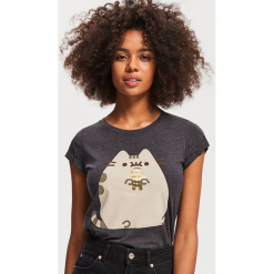 T-shirt z nadrukiem Pusheen - Szary. Szare t-shirty damskie marki Reserved, l, z nadrukiem. Za 29,99 zł.