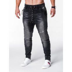 SPODNIE MĘSKIE JEANSOWE JOGGERY P649 - CZARNE. Czarne joggery męskie Ombre Clothing, z bawełny. Za 75,00 zł.