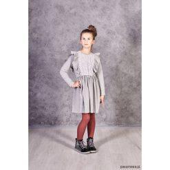 Sukienka Teri. Szare sukienki dziewczęce z falbanami marki Pakamera, w koronkowe wzory, z bawełny. Za 115,00 zł.