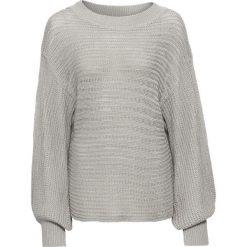 Swetry oversize damskie: Sweter oversize w ażurowy wzór bonprix srebrny matowy