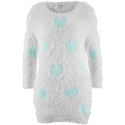 Swetry klasyczne damskie: Długi sweter, rękawy 3/4 bonprix biel wełny – pastelowy miętowy wzorzysty