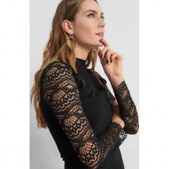 Koszulka z koronką. Brązowe bluzki koronkowe marki Orsay, xs, z dekoltem na plecach, z długim rękawem. Za 79,99 zł.