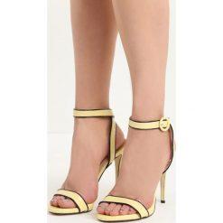 Żółte Sandały Stinger. Żółte sandały damskie Born2be, w paski, na wysokim obcasie. Za 49,99 zł.