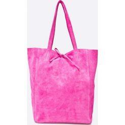 Answear - Torebka skórzana Violet Kiss. Fioletowe torebki klasyczne damskie marki ANSWEAR, z materiału, duże. W wyprzedaży za 139,90 zł.