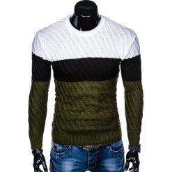 SWETER MĘSKI E143 - KHAKI. Zielone swetry klasyczne męskie marki Ombre Clothing, na zimę, m, z bawełny, z kapturem. Za 49,00 zł.
