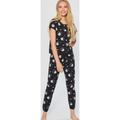 Piżama Mickey Mouse - Czarny. Czarne piżamy damskie Sinsay, l, z motywem z bajki. Za 69,99 zł.