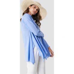 Trendyol Asymetryczna tunika z rozcięciami - Blue. Niebieskie tuniki damskie z długim rękawem marki Trendyol, z asymetrycznym kołnierzem. W wyprzedaży za 70,98 zł.