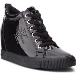 Sneakersy CALVIN KLEIN JEANS - Ritzy RE9799  Black. Czarne sneakersy damskie marki Calvin Klein Jeans, z gumy. Za 569,00 zł.