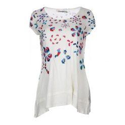 Desigual T-Shirt Damski Xs Biały. Białe t-shirty damskie marki Desigual, xs, w geometryczne wzory, z okrągłym kołnierzem. W wyprzedaży za 169,00 zł.