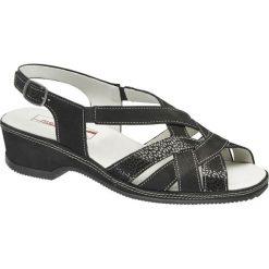 Sandały damskie Medicus czarne. Czarne sandały damskie Medicus, z materiału, na obcasie. Za 159,90 zł.