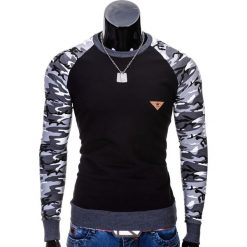 Bluzy męskie: BLUZA MĘSKA BEZ KAPTURA B453 – CZARNA/MORO