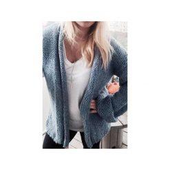 Swetry rozpinane damskie: Sweter Wełniany Niebieski Rozpinany
