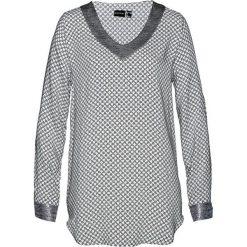 Bluzka bonprix biało-czarno-srebrny metaliczny z nadrukiem. Szare bluzki z odkrytymi ramionami marki Moe, l. Za 99,99 zł.
