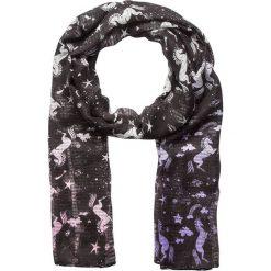 Szaliki damskie: Szal w kolorze czarno-fioletowo-różowym – 180 x 55 cm